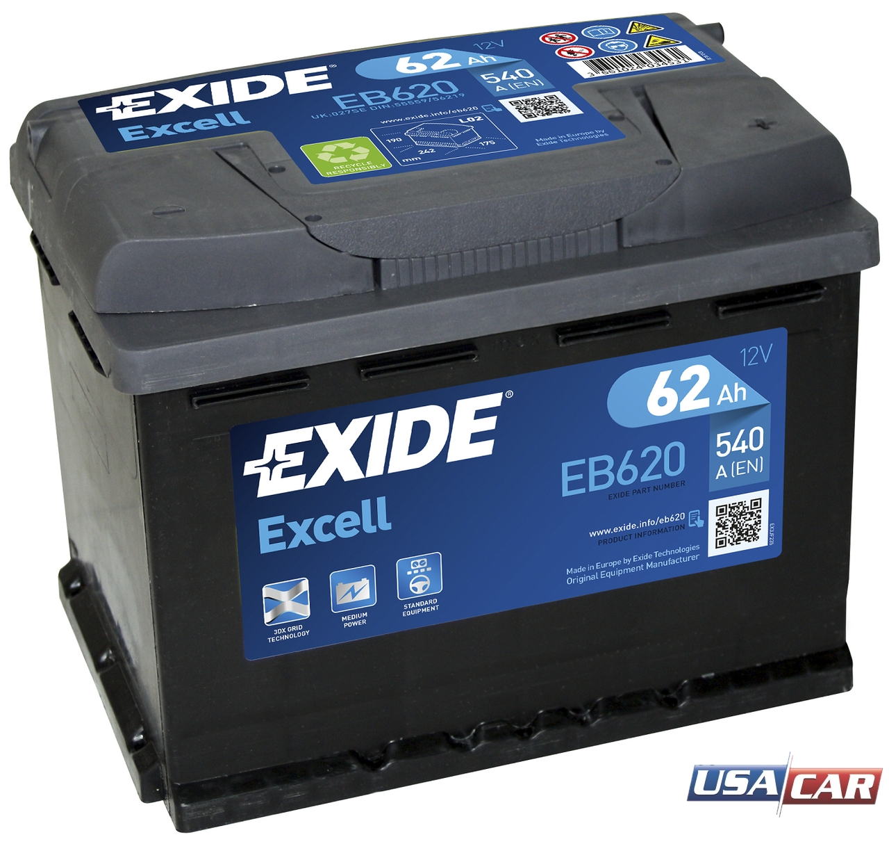 EXIDE Excell 62Ah EB620