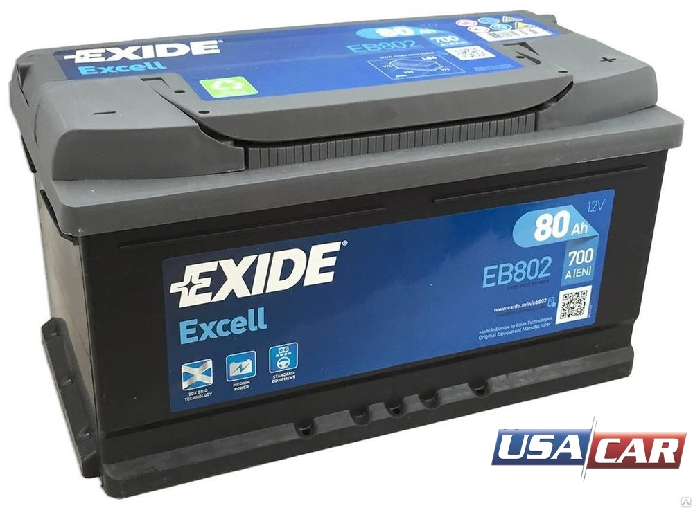 EXIDE Excell 80 А/ч EB802
